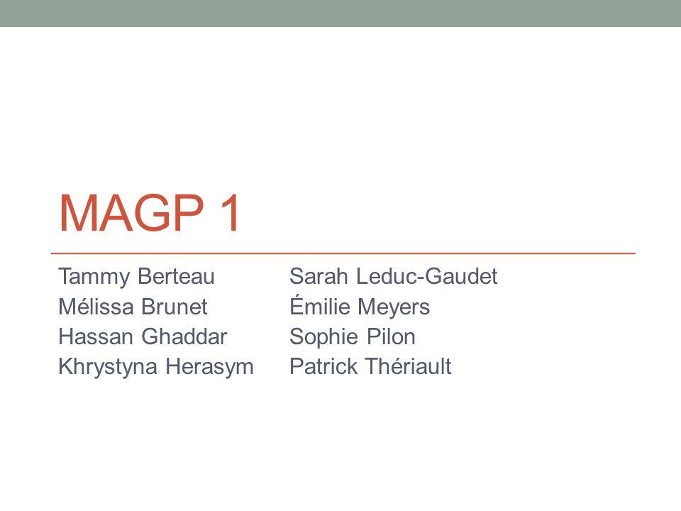 MAGP 1 Tammy Berteau Sarah Leduc-Gaudet Mélissa Brunet Émilie Meyers