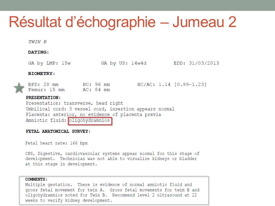 Résultat d'échographie – Jumeau 2