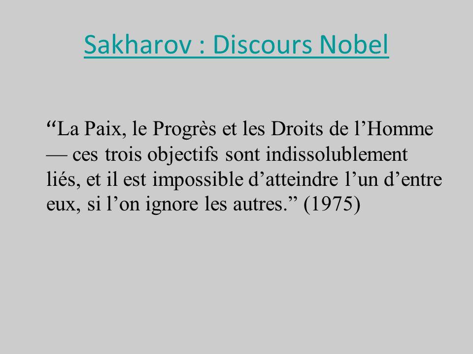 Sakharov : Discours Nobel