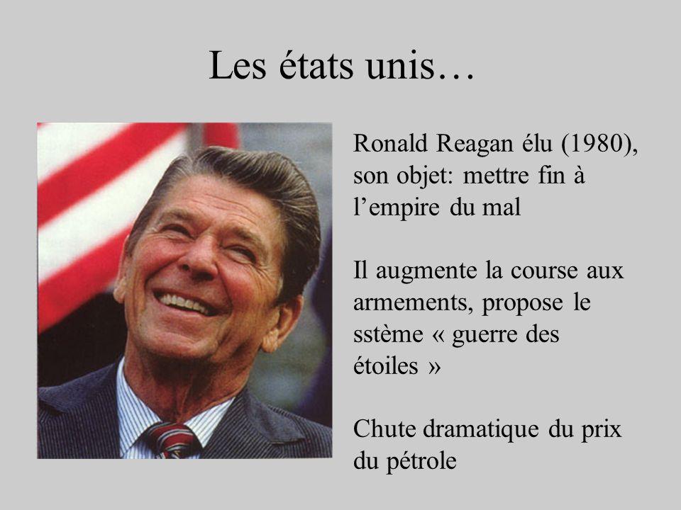 Les états unis… Ronald Reagan élu (1980), son objet: mettre fin à l'empire du mal.