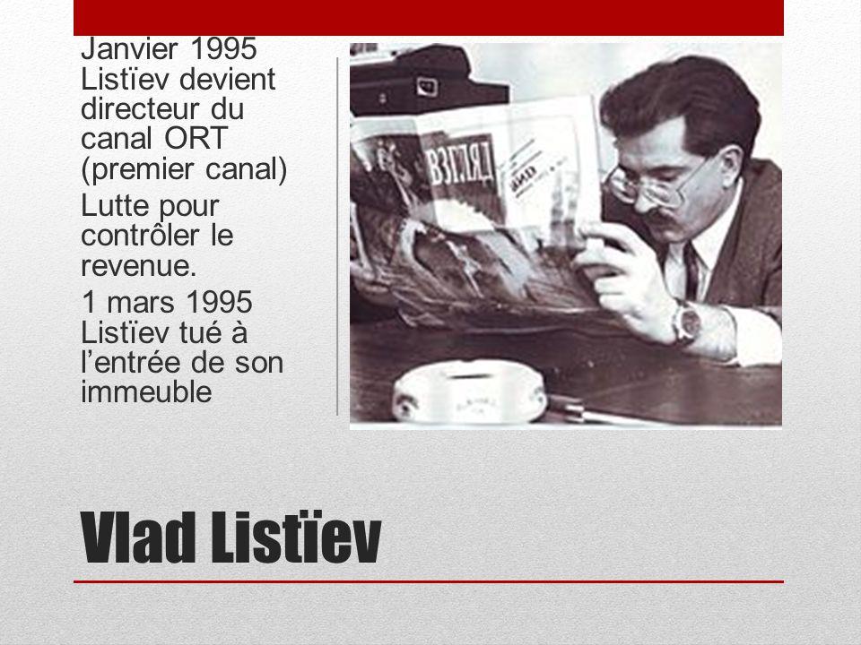 Janvier 1995 Listïev devient directeur du canal ORT (premier canal)