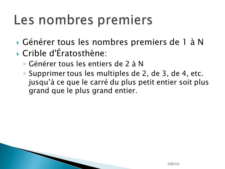 Les nombres premiers Générer tous les nombres premiers de 1 à N