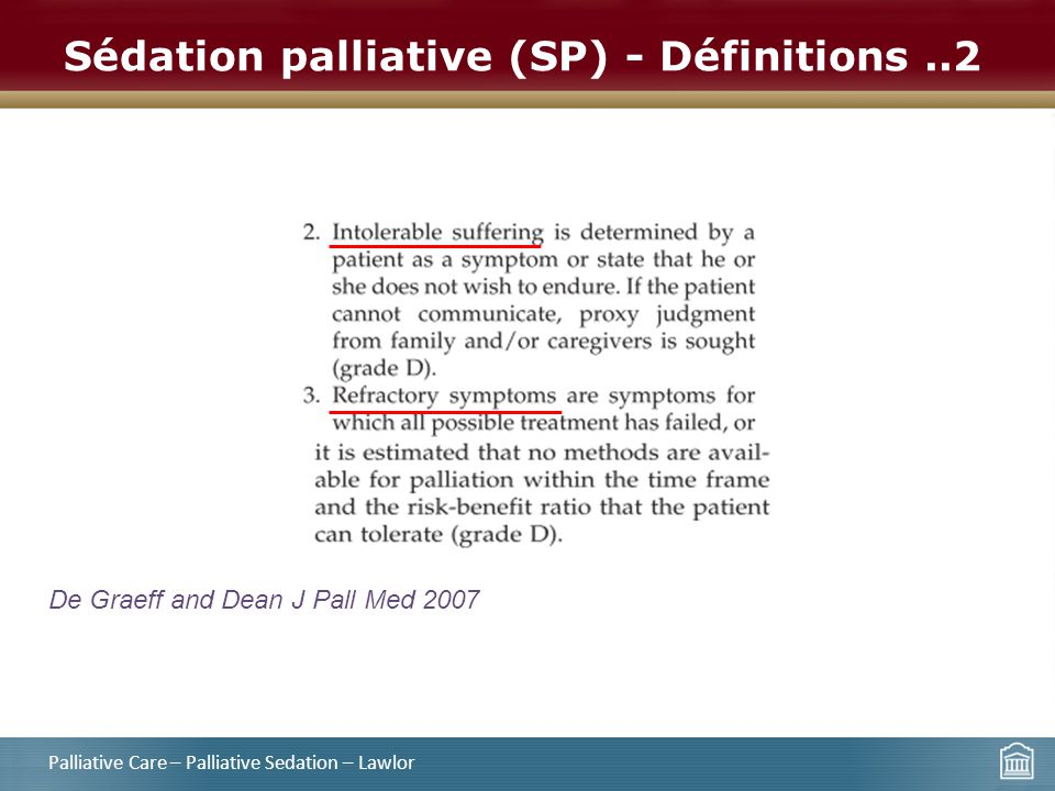 Sédation palliative (SP) - Définitions ..2