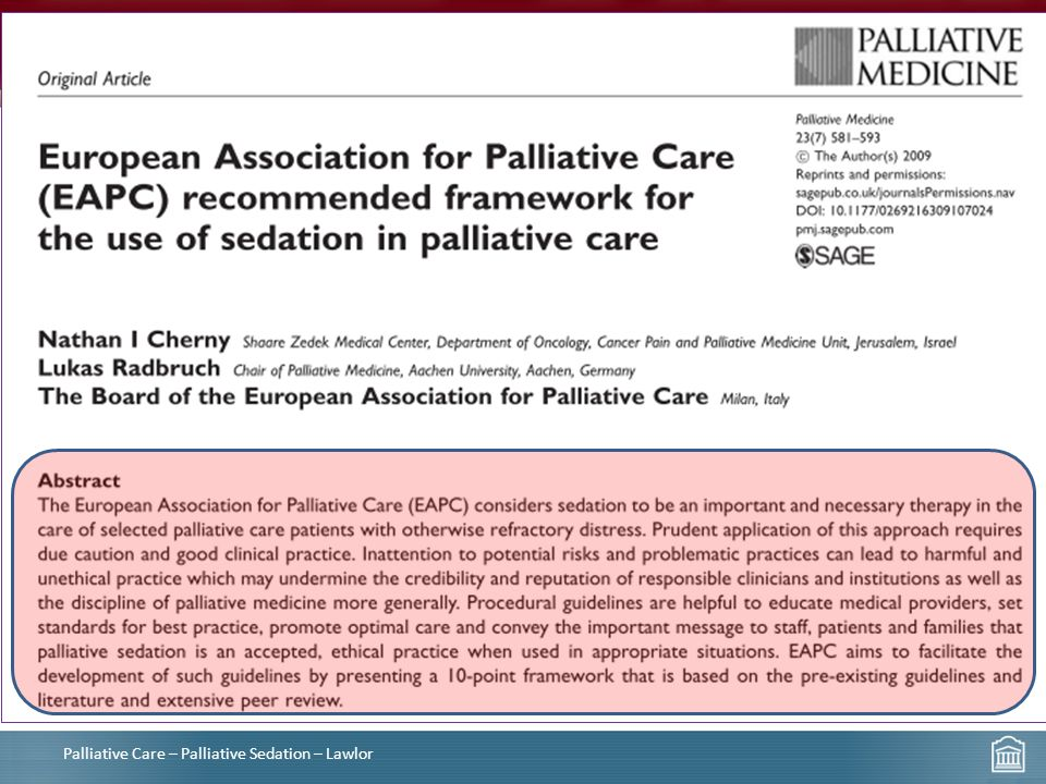 Palliative Care – Palliative Sedation – Lawlor