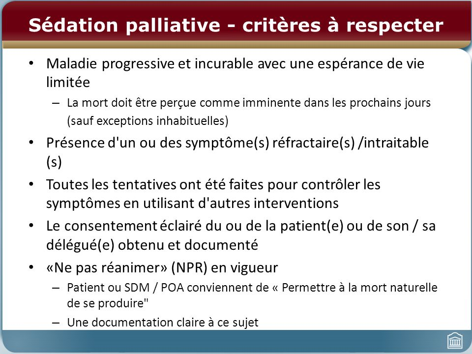 Sédation palliative - critères à respecter