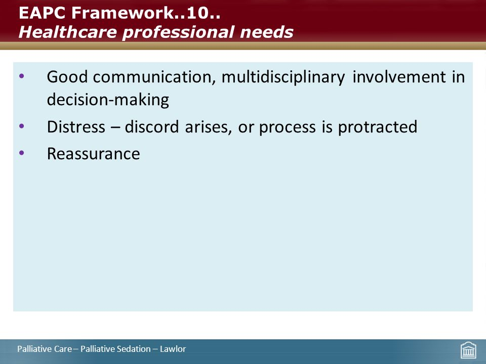 EAPC Framework..10.. Healthcare professional needs