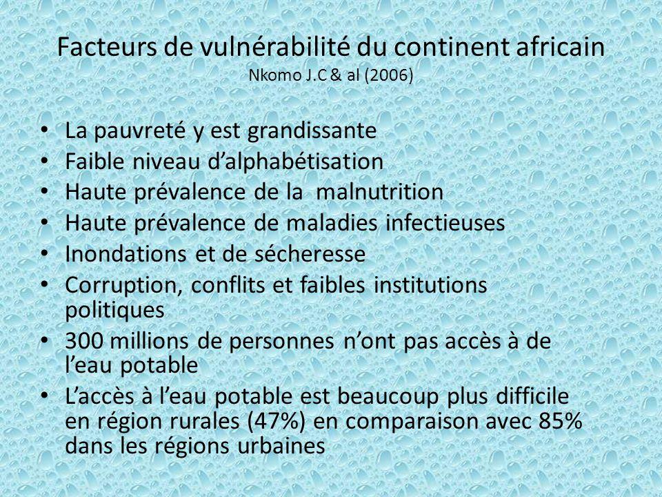 Facteurs de vulnérabilité du continent africain Nkomo J.C & al (2006)