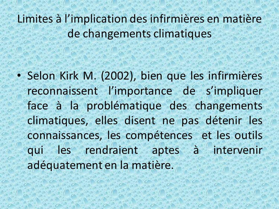 Limites à l'implication des infirmières en matière de changements climatiques