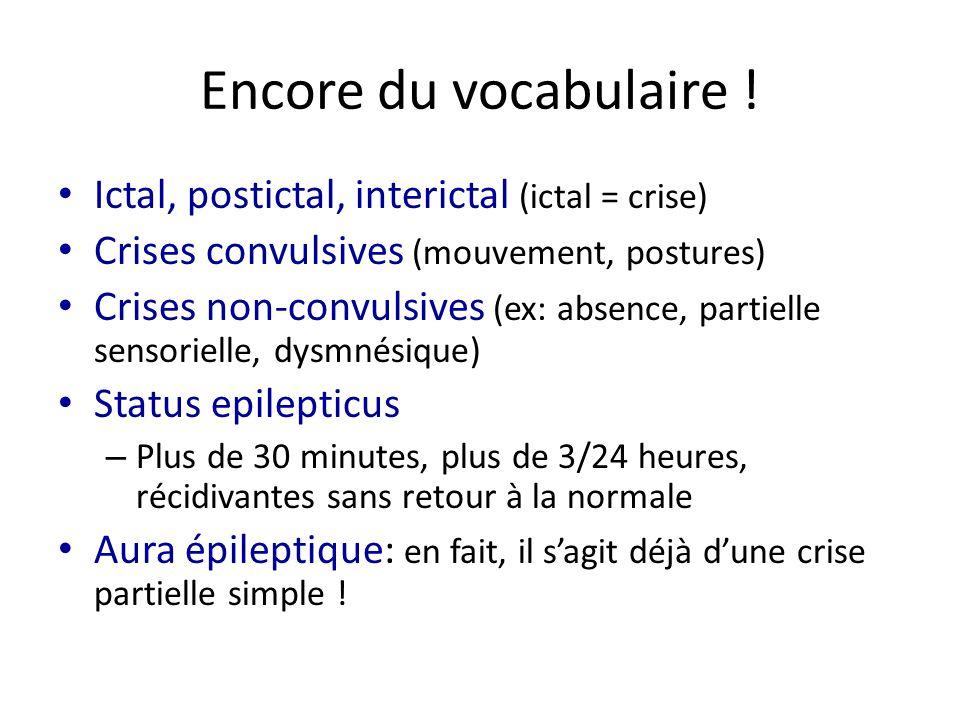 Encore du vocabulaire ! Ictal, postictal, interictal (ictal = crise)