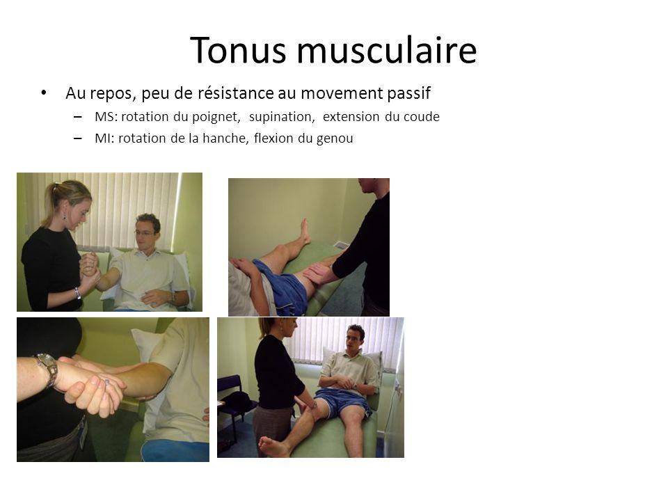 Tonus musculaire Au repos, peu de résistance au movement passif