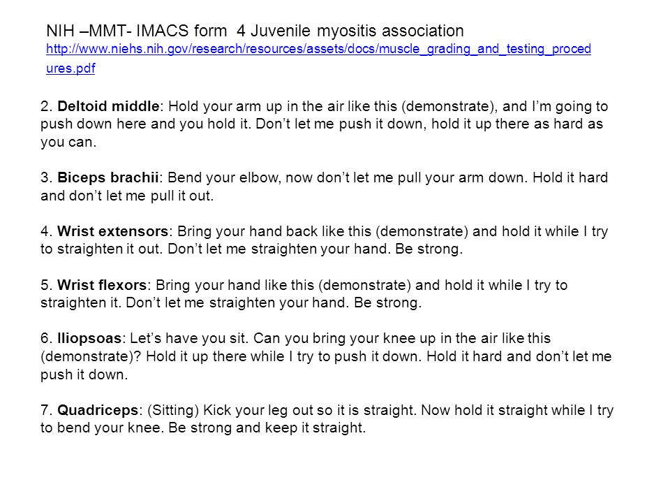 NIH –MMT- IMACS form 4 Juvenile myositis association