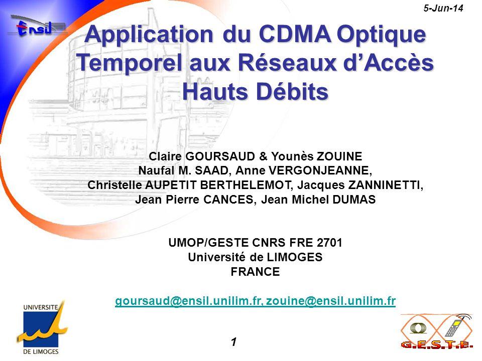 Application du CDMA Optique Temporel aux Réseaux d'Accès Hauts Débits