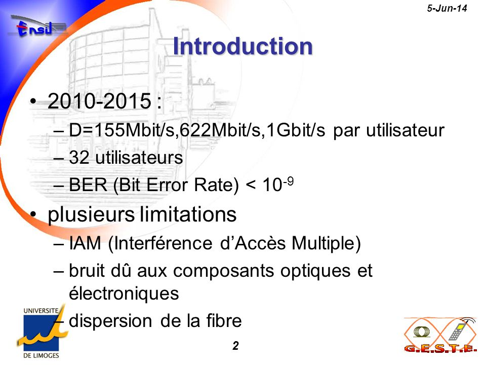 Introduction 2010-2015 : plusieurs limitations