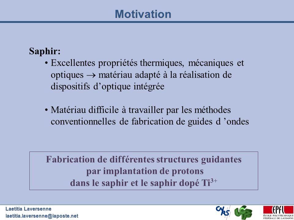 Motivation Saphir: Excellentes propriétés thermiques, mécaniques et optiques  matériau adapté à la réalisation de dispositifs d'optique intégrée.