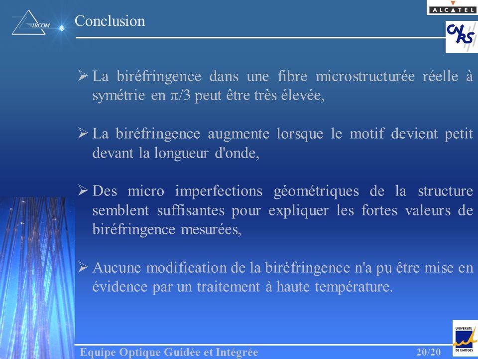 Conclusion La biréfringence dans une fibre microstructurée réelle à symétrie en p/3 peut être très élevée,
