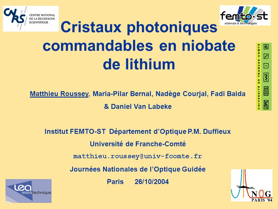 Cristaux photoniques commandables en niobate de lithium