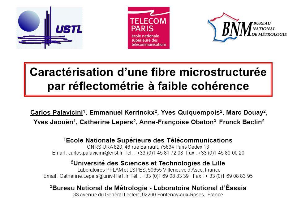 Caractérisation d'une fibre microstructurée