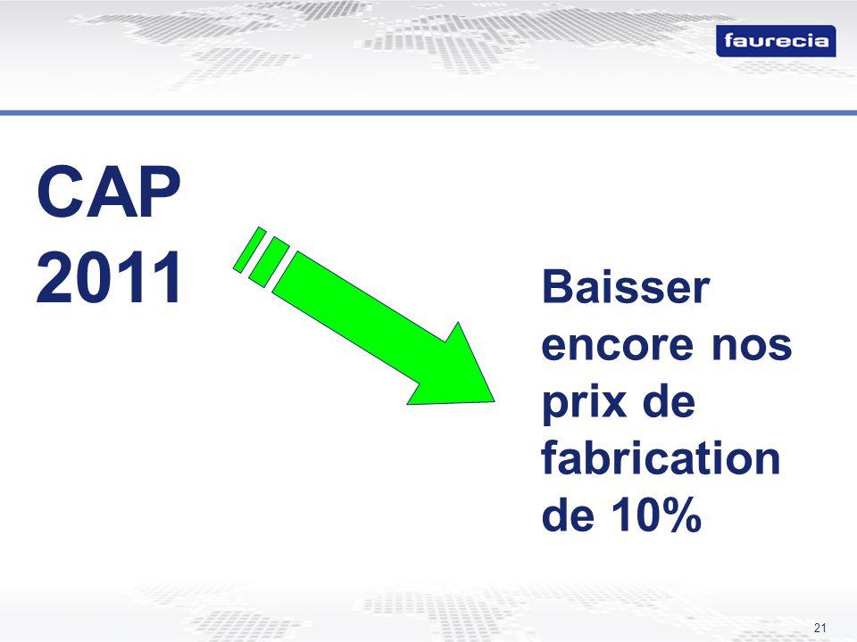 CAP 2011 Baisser encore nos prix de fabrication de 10%
