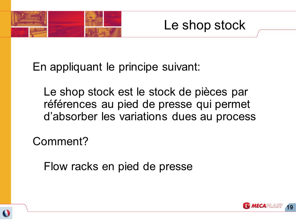 Le shop stock En appliquant le principe suivant: