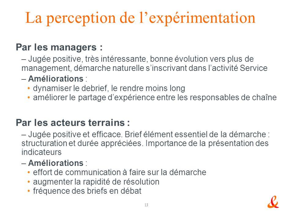 La perception de l'expérimentation