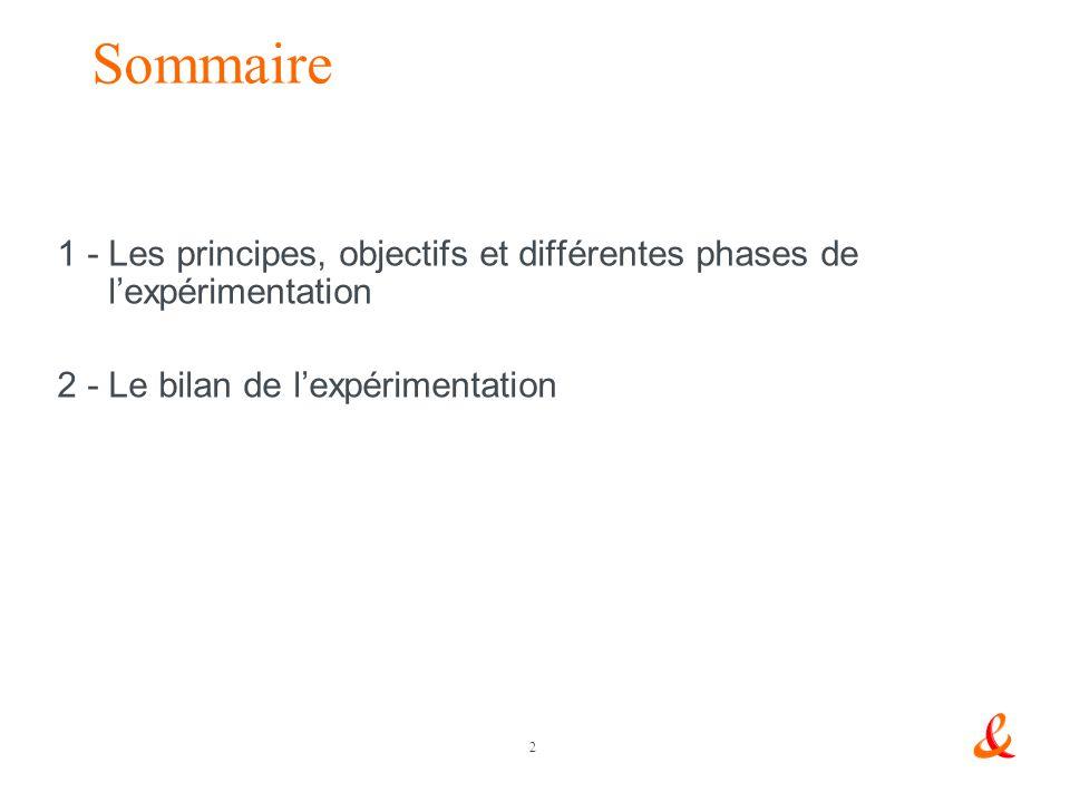 Sommaire 1 - Les principes, objectifs et différentes phases de l'expérimentation.