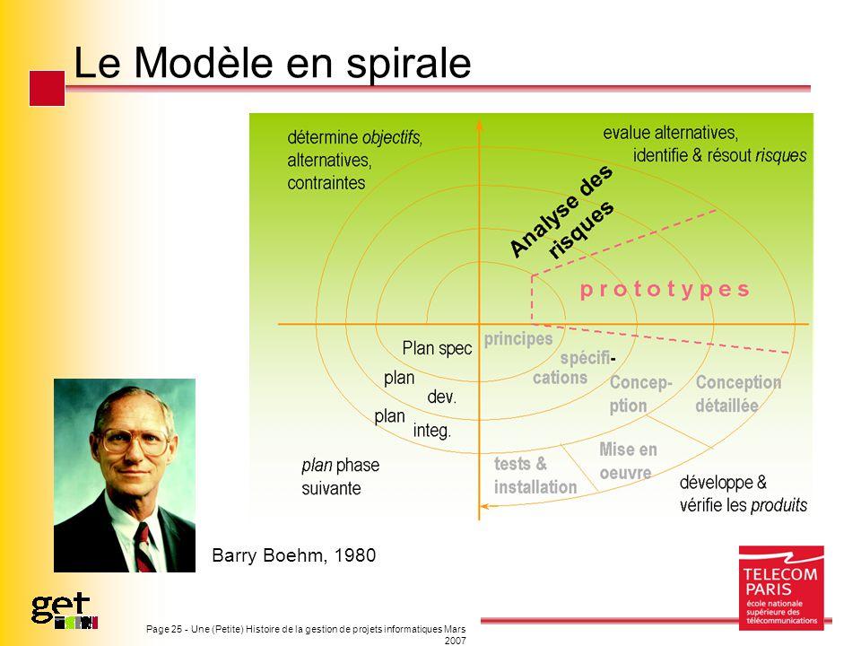 Le Modèle en spirale Barry Boehm, 1980