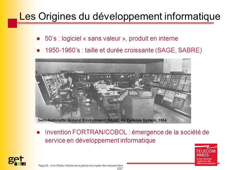 Les Origines du développement informatique