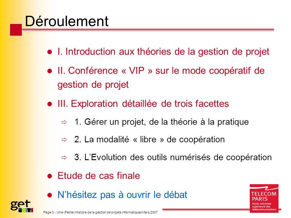 Déroulement I. Introduction aux théories de la gestion de projet