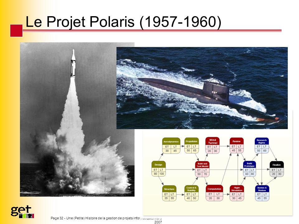 Le Projet Polaris (1957-1960) Page 32 - Une (Petite) Histoire de la gestion de projets informatiques Mars 2007.