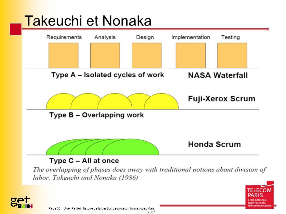 Takeuchi et Nonaka Page 38 - Une (Petite) Histoire de la gestion de projets informatiques Mars 2007