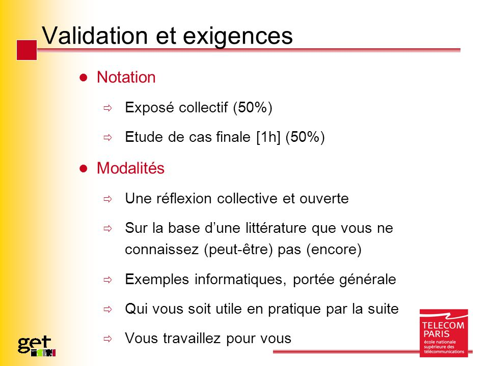 Validation et exigences