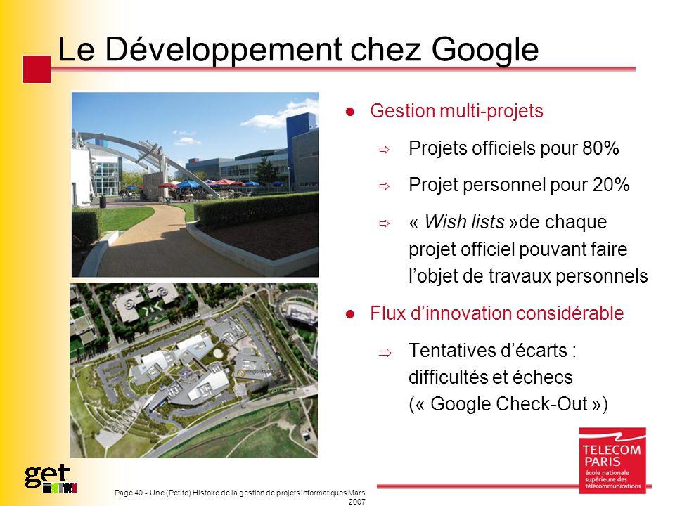 Le Développement chez Google