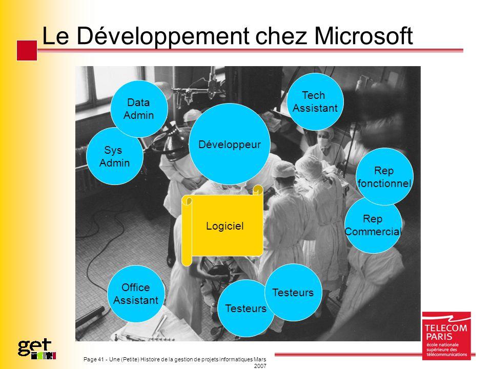 Le Développement chez Microsoft