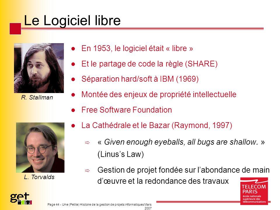 Le Logiciel libre En 1953, le logiciel était « libre »