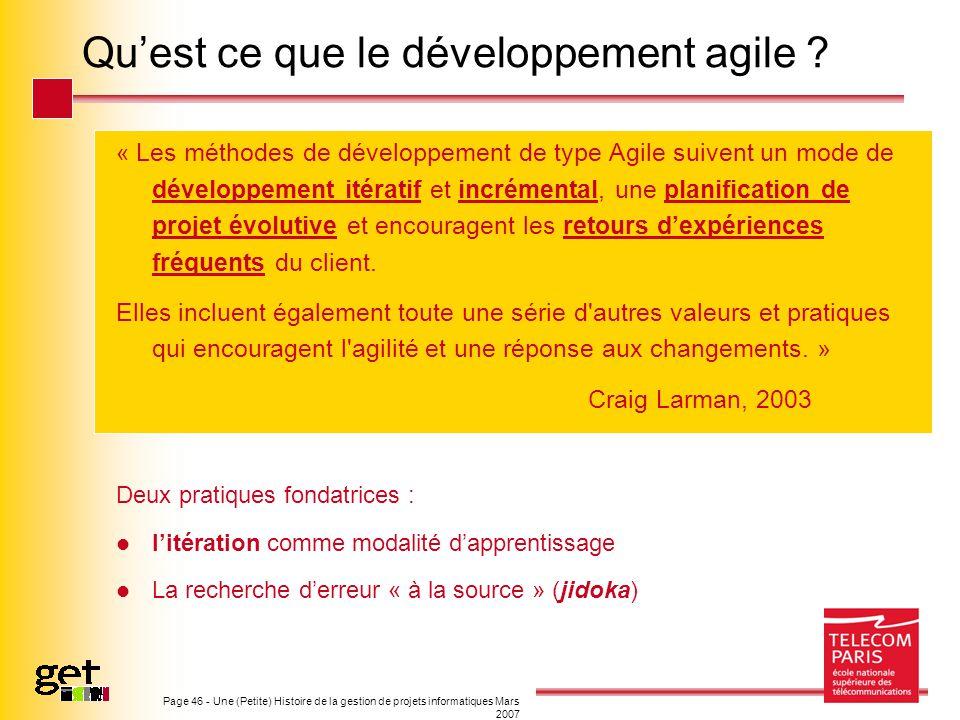 Qu'est ce que le développement agile