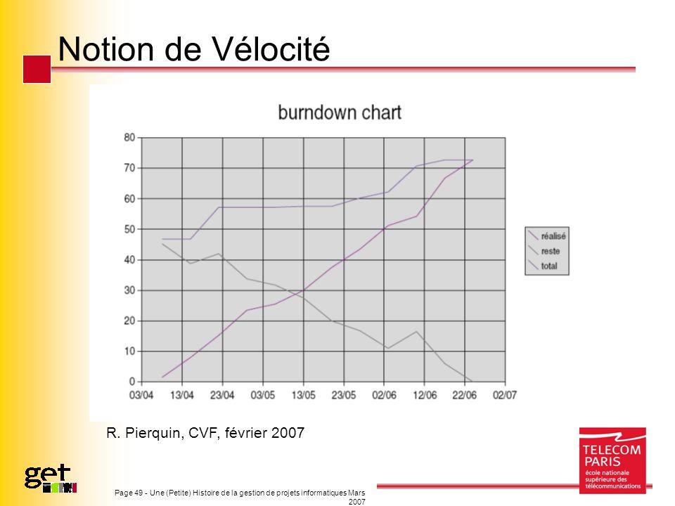 Notion de Vélocité R. Pierquin, CVF, février 2007