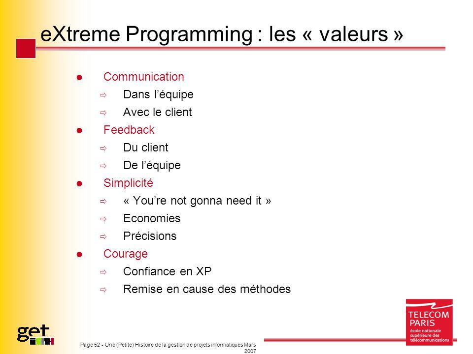 eXtreme Programming : les « valeurs »