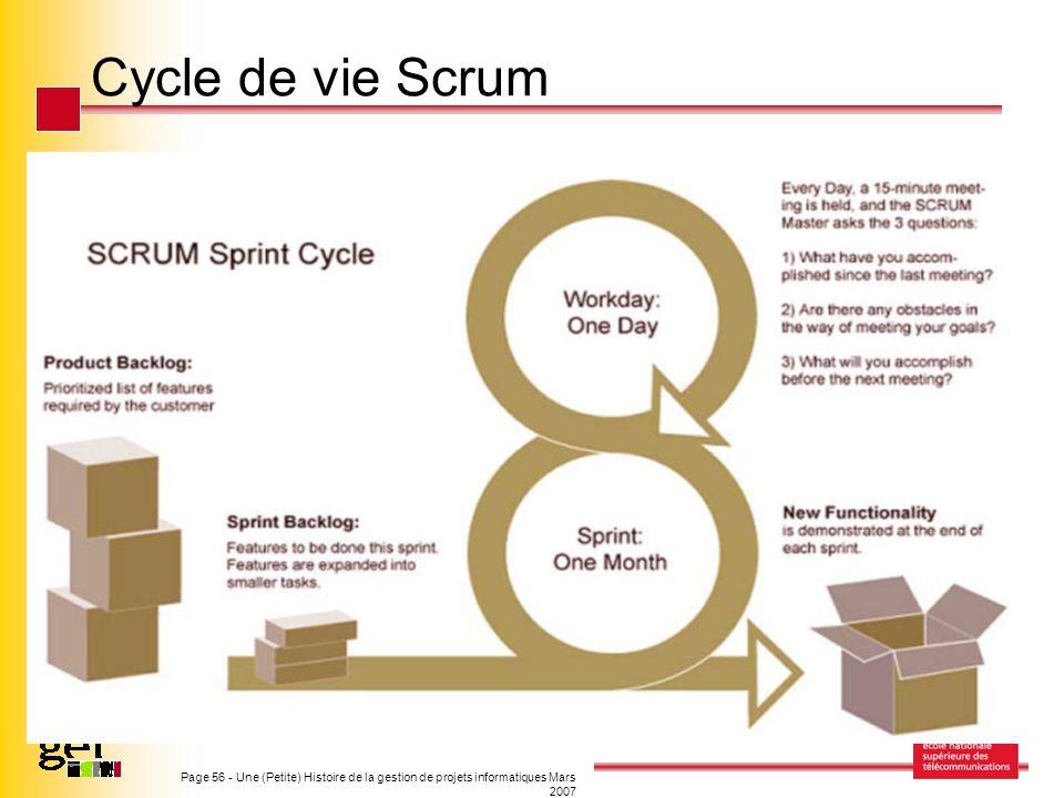 Cycle de vie Scrum Page 56 - Une (Petite) Histoire de la gestion de projets informatiques Mars 2007