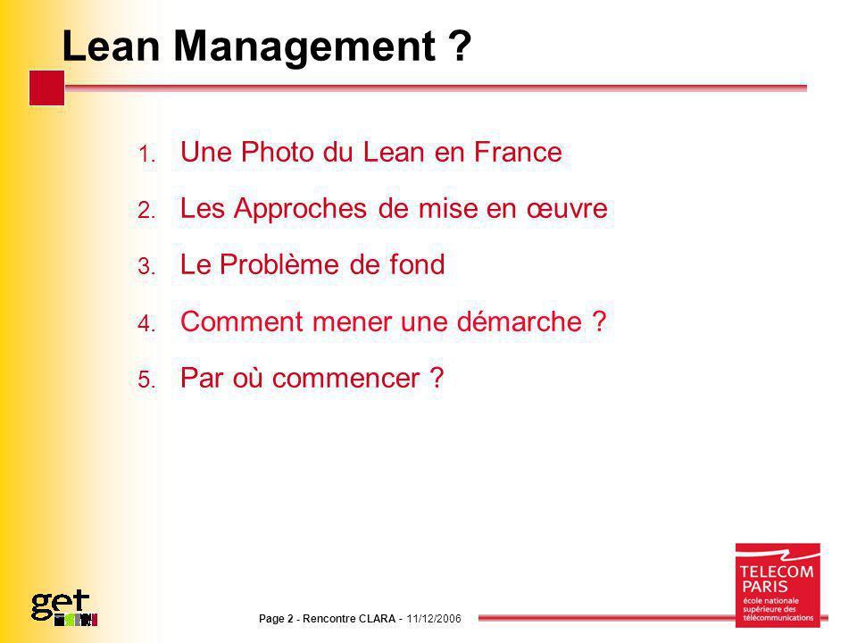Lean Management Une Photo du Lean en France