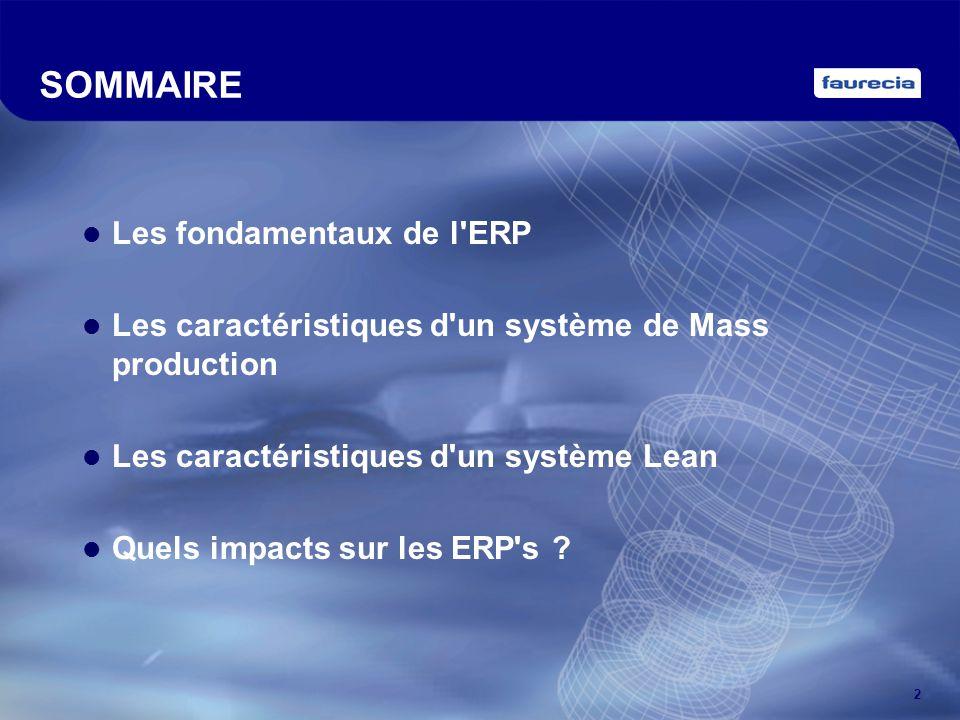 SOMMAIRE Les fondamentaux de l ERP