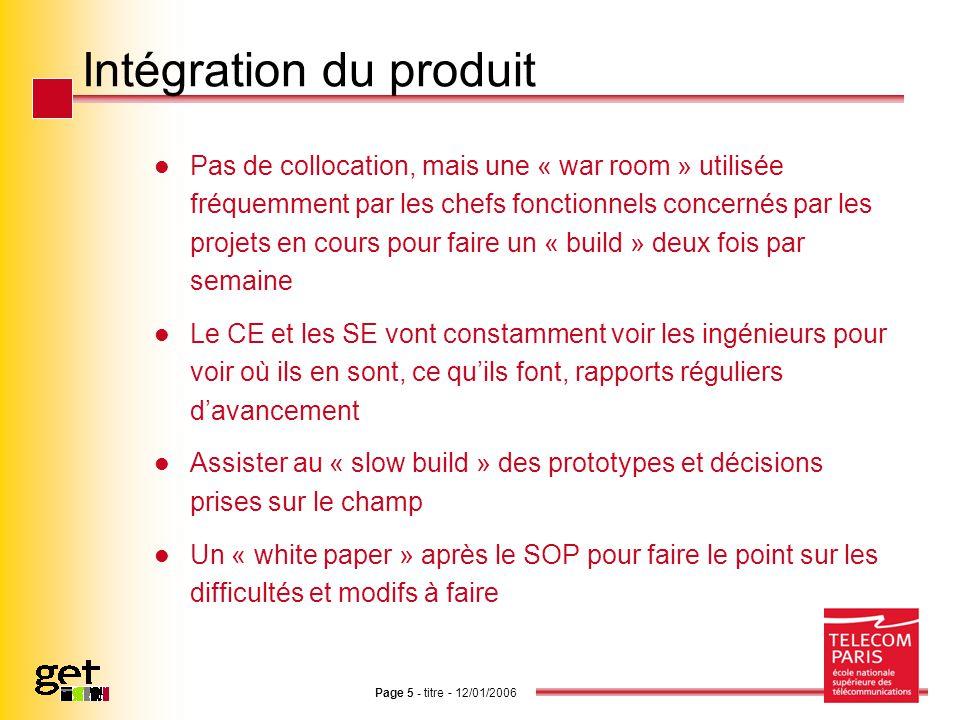 Intégration du produit