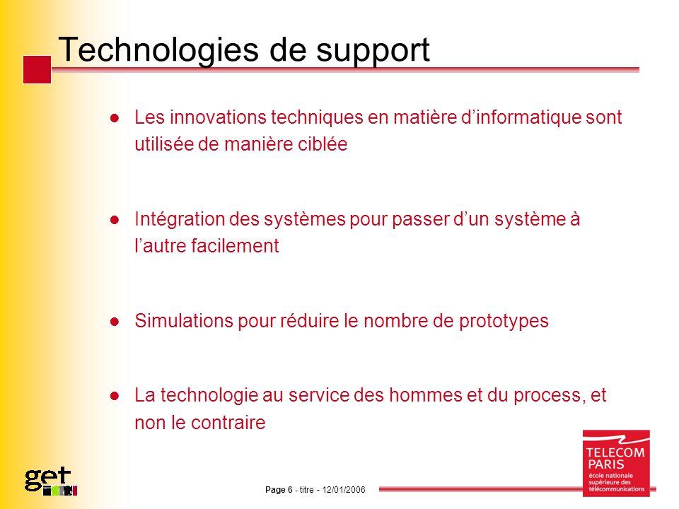 Technologies de support