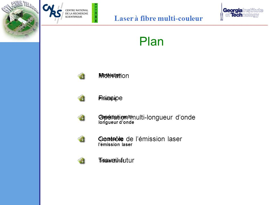 Plan Laser à fibre multi-couleur Motivation Principe