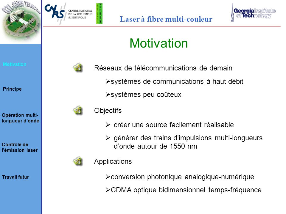 Motivation Laser à fibre multi-couleur