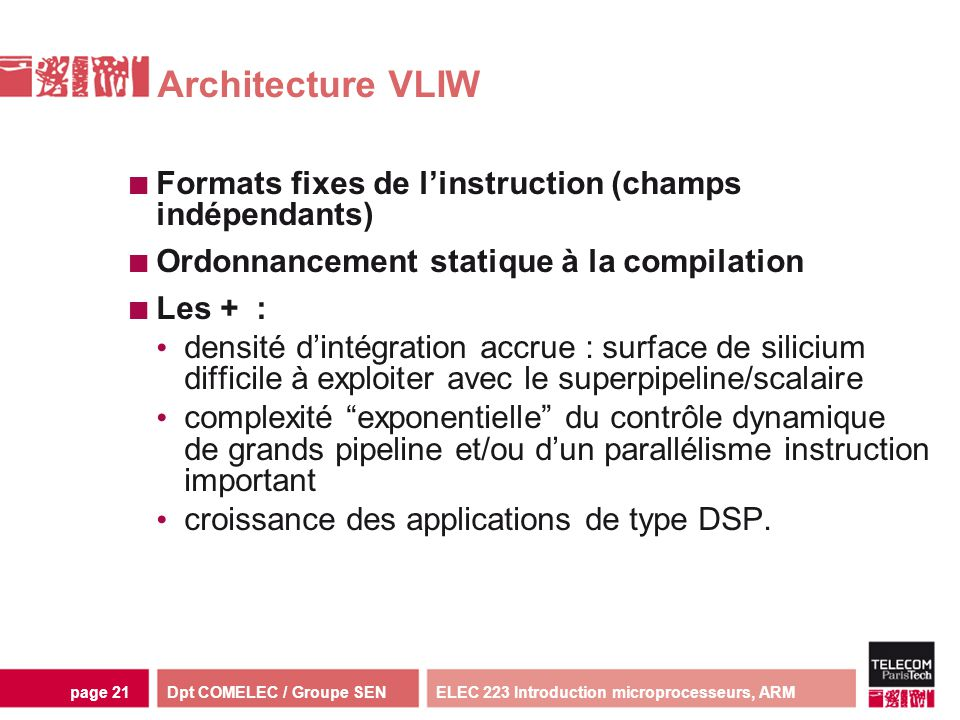Architecture VLIW Formats fixes de l'instruction (champs indépendants)