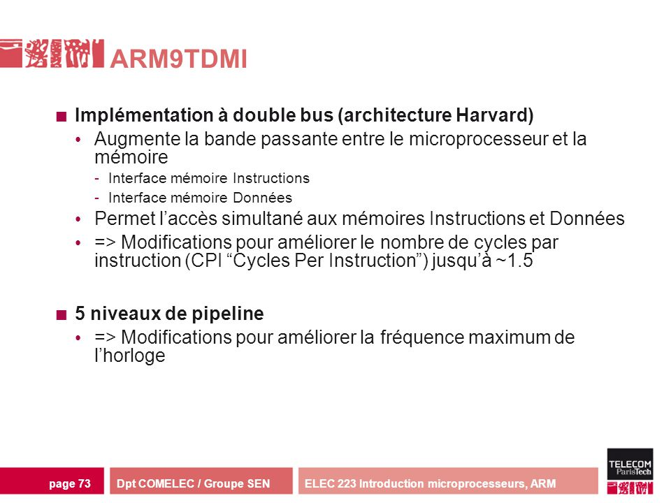 ARM9TDMI Implémentation à double bus (architecture Harvard)