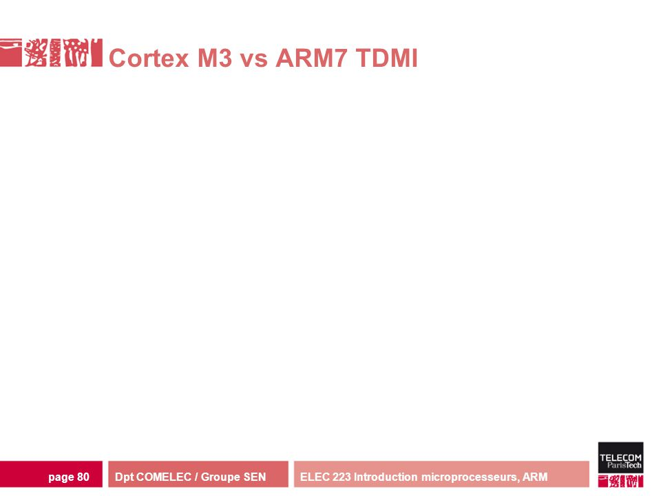 Cortex M3 vs ARM7 TDMI ELEC 223 Introduction microprocesseurs, ARM