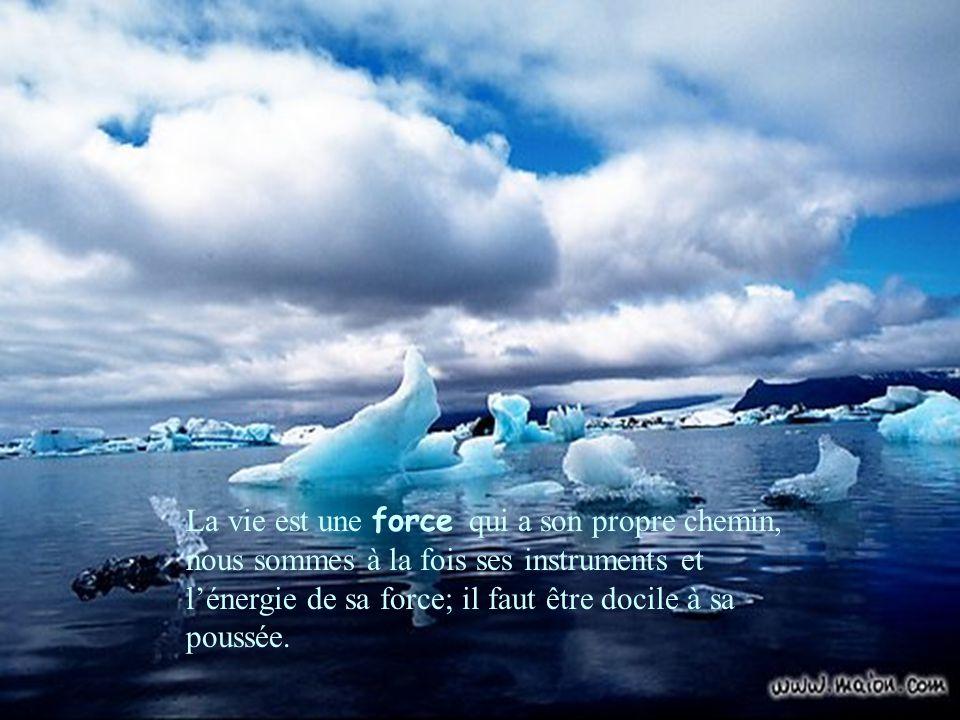 La vie est une force qui a son propre chemin, nous sommes à la fois ses instruments et l'énergie de sa force; il faut être docile à sa poussée.