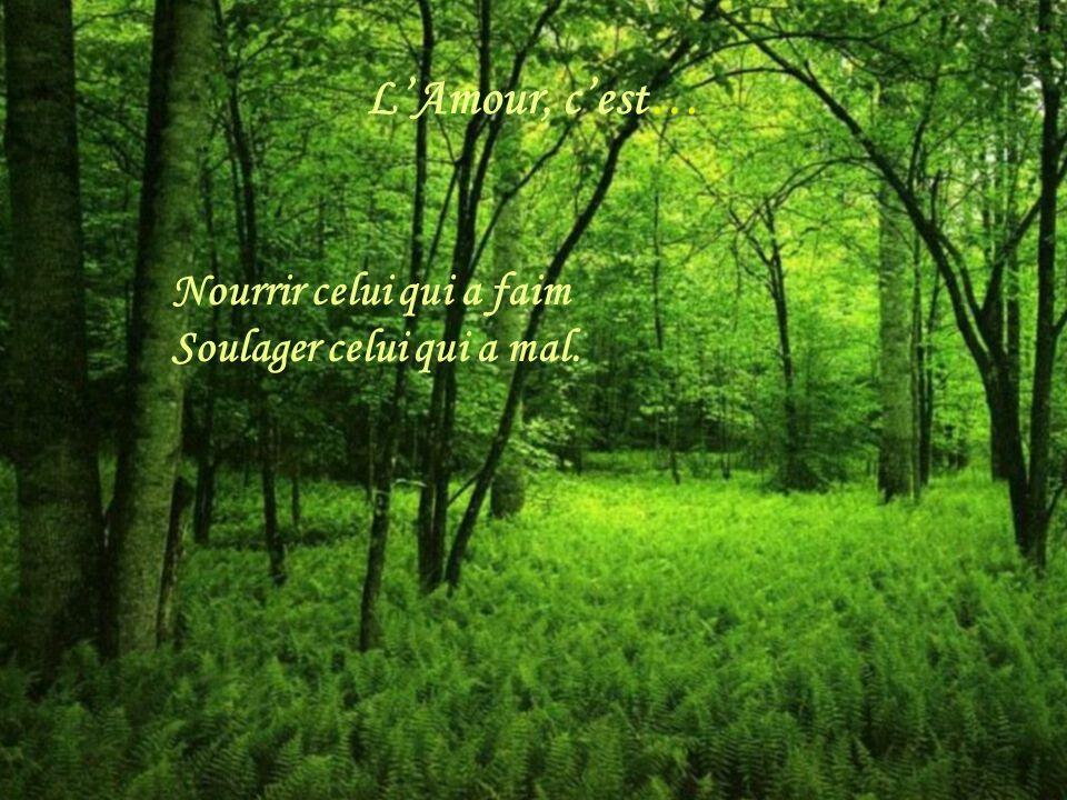 L'Amour, c'est… Nourrir celui qui a faim Soulager celui qui a mal.
