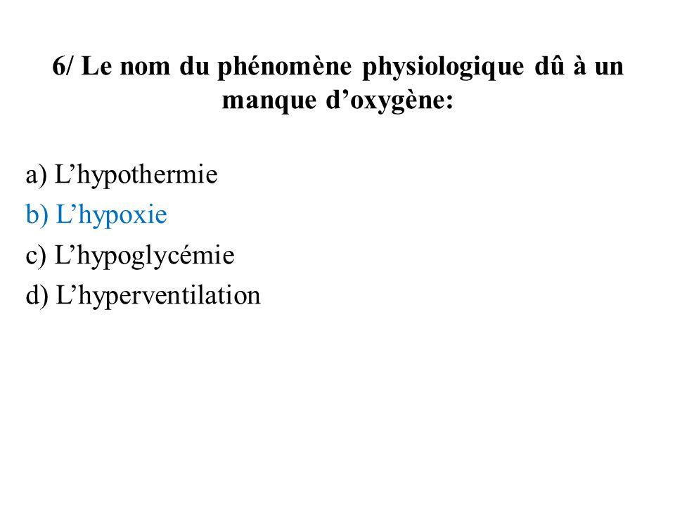 6/ Le nom du phénomène physiologique dû à un manque d'oxygène: